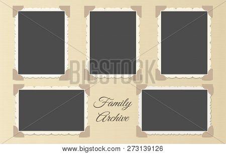 Family Photo Album Collage. Retro Photos Page Template Vector Illustration, Vintage Blank Photo Fram