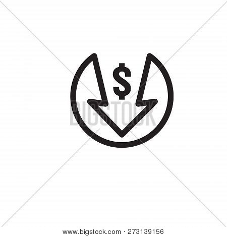 Dollar Arrow Decrease Icon. Money Arrow Symbol. Economy Stretching Rising Drop Fall Down. Business L