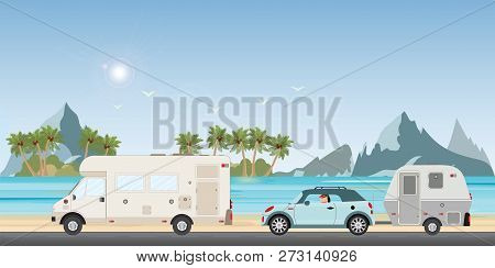 Caravan Car Driving Car On Road On The Beach In The Holiday, Family Vacation Travel, Holiday Trip In