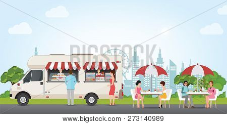Fast Food Street Truck Concept With People Buying And Eating Food And Drink In City Park, Street Foo