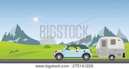 Happy Couple Driving Car On Road On A Sunny Spring Day In The Holiday, Family Vacation Travel, Holid
