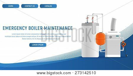 Vector Illustration Concept Page Plumbing Fixture. Banner Vector Image Cartoon Web Page Emergency Bo