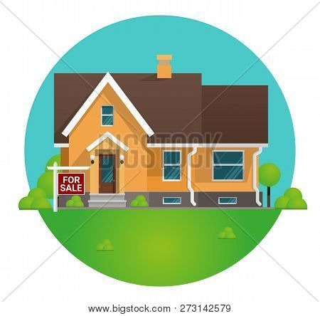Vector Illustration Cartoon Concept For Sale House. Image Townhouse In Home For Sale Concept. Countr