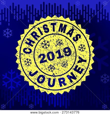 Grunge Round Christmas Journey Rosette Stamp Seal For 2019 Winter. Vector Christmas Journey Rubber S