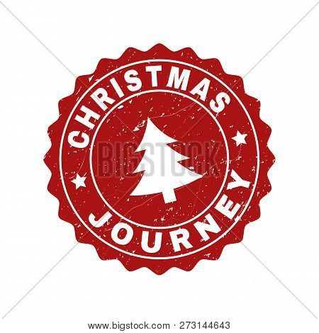 Grunge Round Christmas Journey Stamp Seal With Fir-tree. Vector Christmas Journey Rubber Seal Imitat