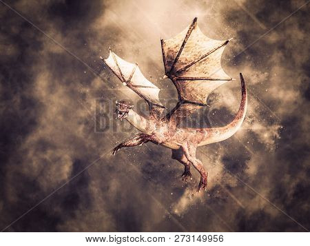 3d Rendering Of A Magical Fairy Tale Dragon With Wings Flying In The Sky.