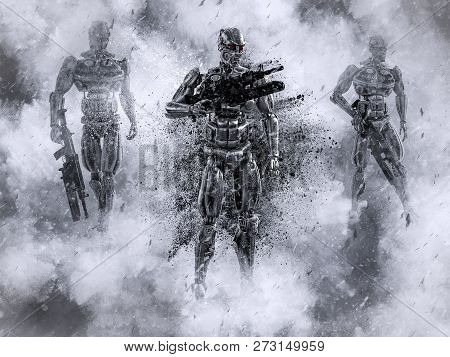 3d Rendering Of Futuristic Mech Soldiers Holding Guns In A Polluted Futuristic Dystopian World At Wa