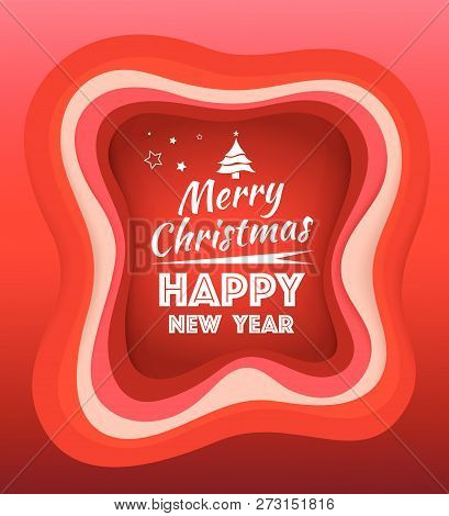 Merry Christmas And Happy New Year Greeting Card Red Step Border.
