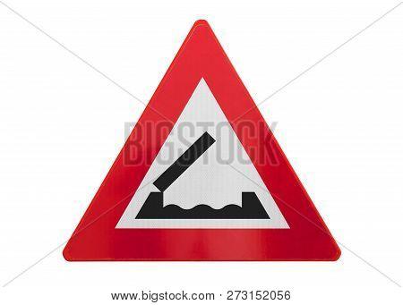 Traffic Sign Isolated - Bridge Ahead - Isolated On White