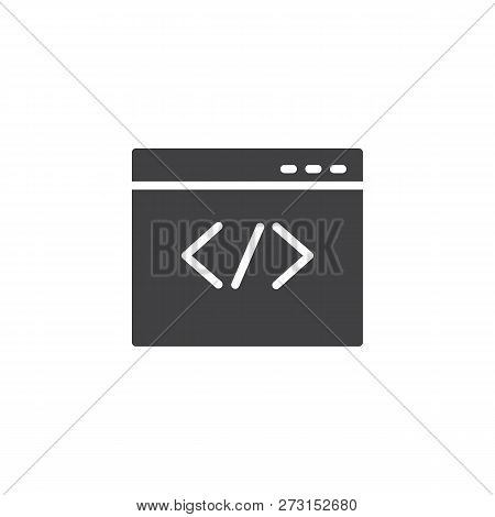 Web Browser Coding Vector Icon. Filled Flat Sign For Mobile Concept And Web Design. Coding Website S