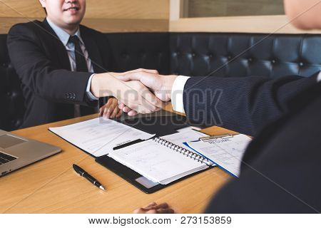Successful Job Interview With Boss And Employee Shaking Hands After Negotiation Or Interview, Career