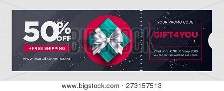 Vector Birthday Gift Coupon. Elegant Christmas Voucher Design. Premium Egift Card Background For E-c