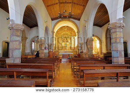 Monchique, Portugal - November 13, 2018: The Interior Of Matriz Church (nossa Senhora Das Dores), Wi