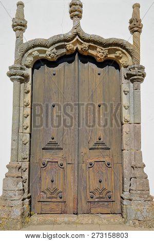 Matriz Church (nossa Senhora Das Dores): Details Of A Manueline Doorway Inside The Old Town Of Monch