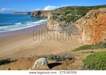 Beliche Beach Between Sagres And Cabo De Sao Vicente (st Vincent Cape), With Colorful Landscape And