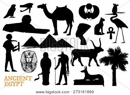 Ancient Egypt Religion Symbols With God And Travel Landmarks Silhouettes. Vector Pharaoh Pyramid, Sp