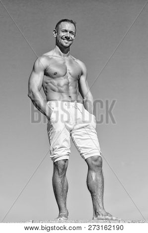 Guy Muscular Belly Posing. Sport And Bodycare. Muscular Masculine Guy Look Confident. Man Sexy Muscu