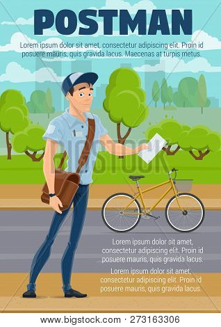 Postman Delivering Mail With Bike. Mailman Cartoon Character In Blue Uniform With Letter, Envelope,