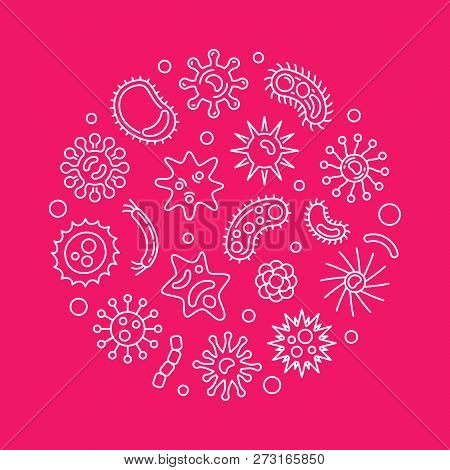 Human Microbiota Vector Concept Round Illustration In Thin Line Style On Red Background