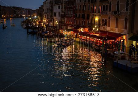 Grand canale from Rialto Bridge at blue hour, Venice, Italy