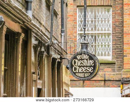London, United Kingdom - June 11, 2013: Ye Olde Cheshire Cheese, Old Pub In London. Rebuilt Shortly