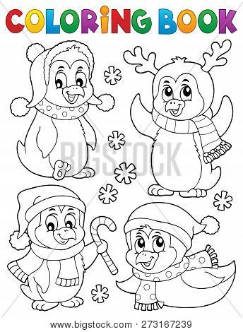 Coloring Book Christmas Penguins 2 - Eps10 Vector Picture Illustration.