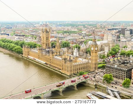 Aerial View Of The Thames River, Houses Of Parliament, Big Ben Clocktower And Westminster Bridge. Lo