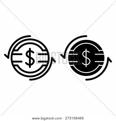 Dollar Rate Line And Glyph Icon. Dollar Coin With Arrows Vector Illustration Isolated On White. Doll