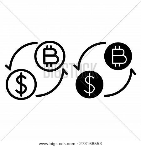 Coins Of Dollar And Bitcoin With Arrows Line And Glyph Icon. Dollar And Bitcoin Exchange Vector Illu