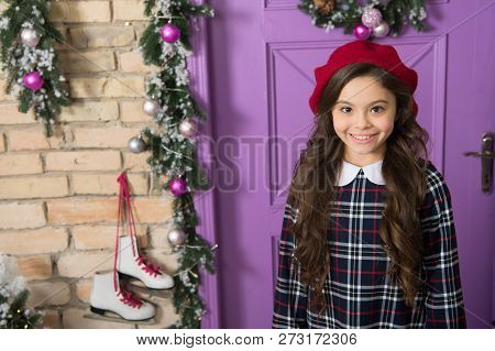 Adorable Beauty. Fashionable Small Girl. Small Model With Fashion Look. Little Fashionista On Christ