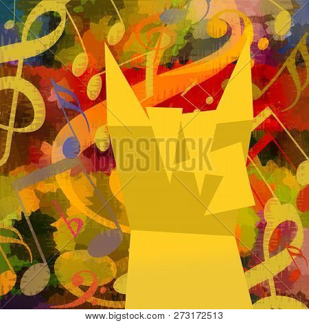 Heavy Metal Rock Bright Colorful Music Background With Notes And Gesture