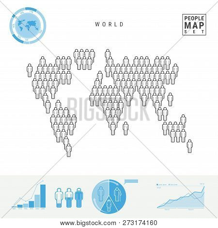 World People Icon Map. People Crowd In The Shape Of A World Map. Stylized Silhouette Of The World. P