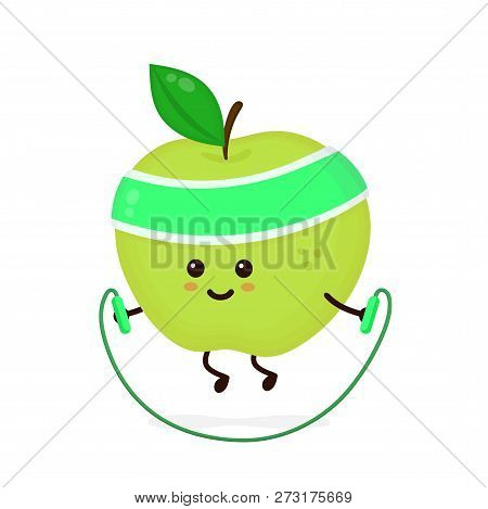 Cute Smiling Happy Strong Apple With Jumping Rope.vector Flat Cartoon Character Illustration Icon. I