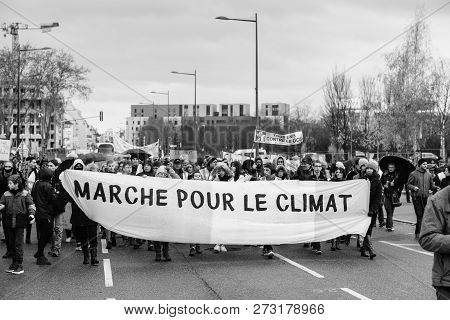 Strasbourg, France - Dec 8, 2018: Crowd Of People Marching In Central Strasbourg At The Nationwide P
