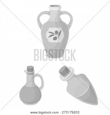 Isolated Object Of Food  And Bung Logo. Collection Of Food  And Oil  Stock Vector Illustration.