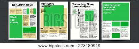 Newspaper Vector. Daily Journal Design. Financial News Articles, Advertising Business Information. I