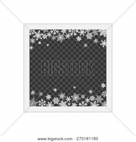 Christmas Photo Frame With Shadow. Blank Photo Frame With White Border. Template Photo Frame With Sn