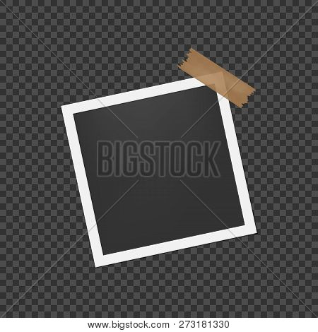 Blank Photo Frame With Shadow. Photo Frames With Adhesive Tape. Empty Template For Photography And P