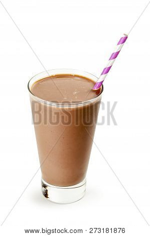 Glass Of Cold Chocolate Milk With Straw Isolated On White