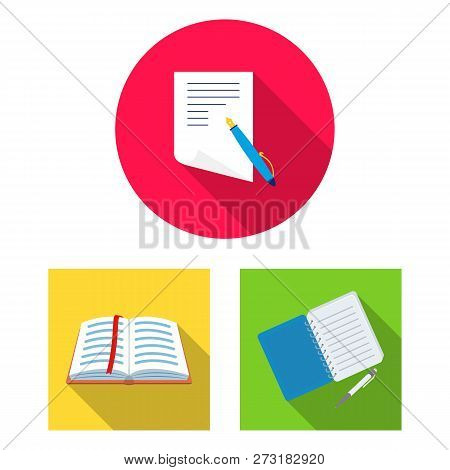 Vector Illustration Of Book And Open Symbol. Set Of Book And Pencil Stock Vector Illustration.