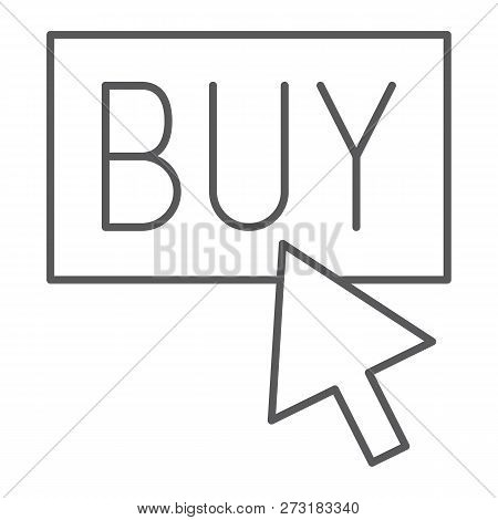 Buy Now Thin Line Icon, Shopping And Commerce, Buy Button Sign, Vector Graphics, A Linear Pattern On
