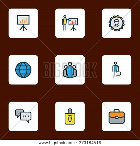 Job Icons Colored Line Set With Employee, Network, Introducing And Other World Elements. Isolated Ve