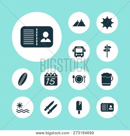Journey Icons Set With Pointers, Beer, Certification And Other Signpost Elements. Isolated Vector Il