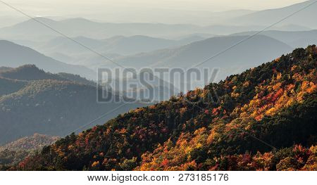 Fall Color Ridges And Rolling Hills In The Appalachians Of North Carolina On The Blue Ridge Parkway
