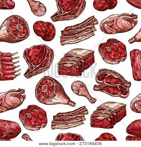 Meat Food Seamless Vector Pattern Of Beef And Pork Steak, Ham And Chicken, Burger Patty, Turkey Leg
