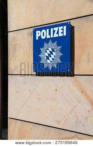 Nuremberg, Germany - May 6, 2018: Police Station Sign In Nuremberg, Germany. Bavarian State Police (