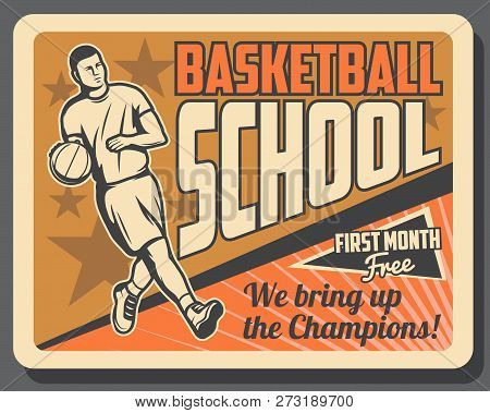 Basketball Sport Game Player In Uniform Dribbling Ball On Orange Court, Vector. Basketball Sporting