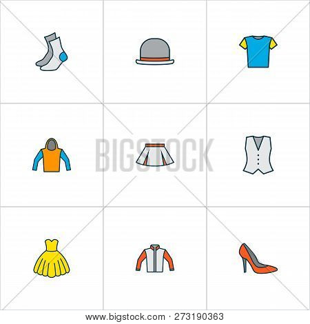 Clothes Icons Colored Line Set With Cardigan, Half-hose, Dress And Other Sweatshirt Elements. Isolat