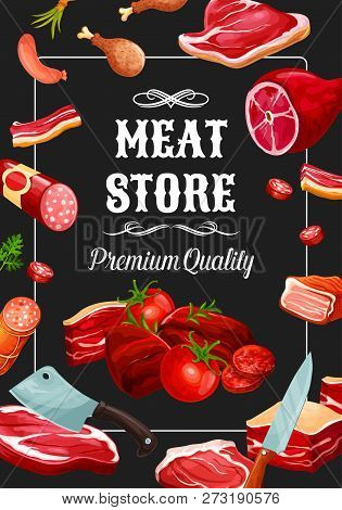 Meat Store, Premium Quality Meaty Products And Sausages. Vector Salami, Pepperoni Or Cervelat With B