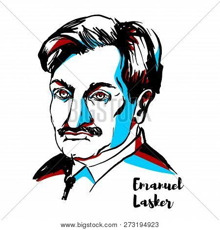 Russia, Moscow - December 06, 2018: Emanuel Lasker Engraved Vector Portrait With Ink Contours. Germa